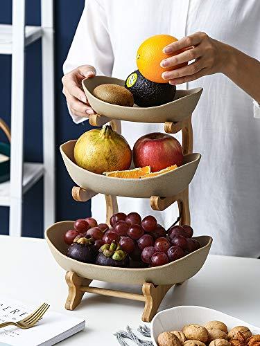 Bambus-Keramikplatte für trockene Früchte und Sushi-Holz, Obstkorb, doppellagig, kreativer Obstteller (Farbe: B 3Floor)