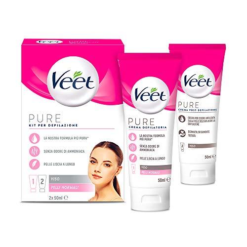 Veet Kit Completo Depilazione Viso, Crema Depilatoria e Crema Post Epilazione, 2x 50 ml
