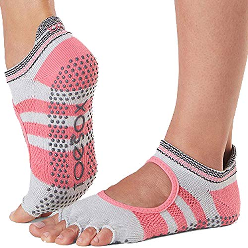 Toesox Damen Grip Pilates Barre Socks-Non-Slip Bellarina Half Toe for Yoga & Ballet, Whip, Größe S