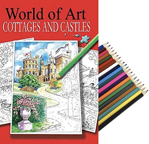 World of Art - Libro da colorare per adulti, formato A4, con disegni di villette e castelli, 20 matite colorate BG