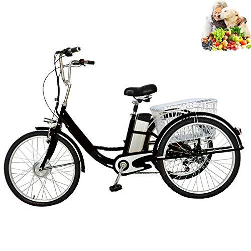 Triciclo Bicicleta eléctrica para Adultos batería de Litio 3 Ruedas para Personas Mayores con iluminación LED en la Canasta Trasera Triciclo de Pedal Humano de Tres Ruedas asistido eléctricamente