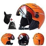 バイザーメガネ付きスキーヘルメット 一体成形スノースポーツヘルメット 大人用軽量コンバーチブルスノーモービルスノーボードヘルメット(女性と男性用),B,XL