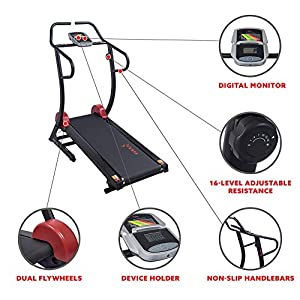 Sunny Health & Fitness Cardio Trainer Self Powered Manual Treadmill with Adjustable Incline, Magnetic Resistance, 300+ lbs High Weight Capacity, Non-Motorized- SF-T7878