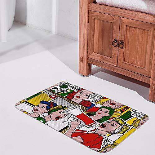 Ruchen Felpudo retro cómic pop art mujeres colorido dibujos animados coral polar interior exterior decoración absorbe la humedad duradera 31 × 50 cm