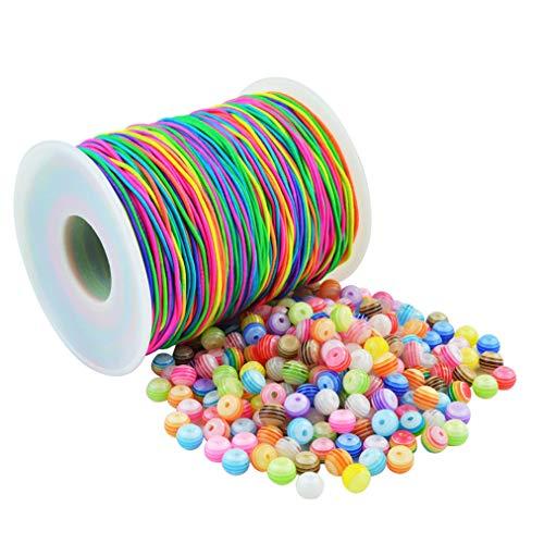baotongle 400 Stück Bunte Perlen Rund Zum Auffädeln mit 100 m Elastisch Schnur,Harz Perlen Mehrfarbig Für die Herstellung von Armbandschmuck(6mm)
