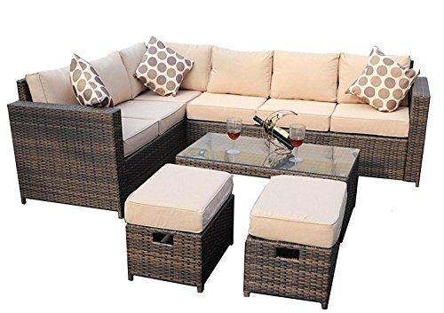 yakoe 50166r Wintergarten Modular 8-Sitzer Rattan Ecksofa Set Outdoor Garten Möbel mit Regen Abdeckung, Braun,  180.5 x 240.5 x 70 cm