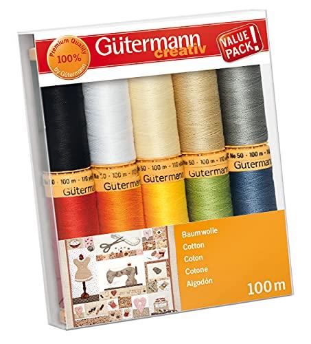 Gütermann creativ Nähfaden-Set mit 10 Spulen Baumwolle 100 m in verschiedenen Farben