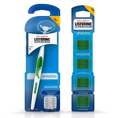 Listerine Ultraclean Access Snap-On Flosser & Flosser Refill Head 28 ea, Pack for Proper Oral Care, Mint Flavor 1 ea