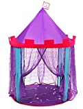 """DafiDaf Play Tent Princess Castle for Girls + Bonus Fairy Lights – Pink, Purple, & Blue, Indoor & Outdoor Toddlers & Kids Play Tent Toys – Portable, Foldable Kids Playhouse, 39.4x39.4x53.1"""""""