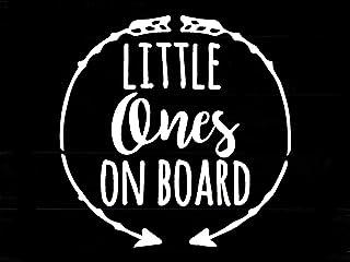 """Vinyl Aufkleber """"Little Ones On Board"""", weiß, 14 x 14 cm"""