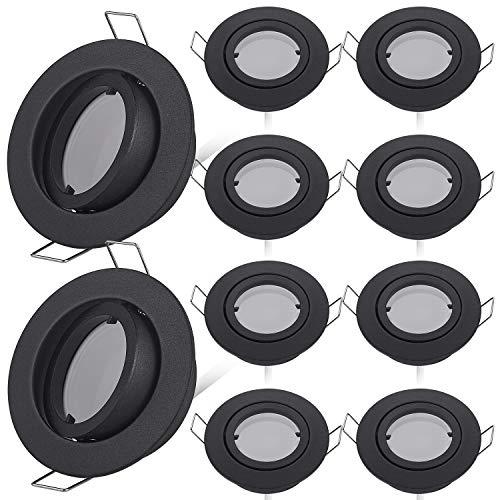 HCFEI LED Einbaustrahler dimmbar schwarz schwenkbar 5W flach 230V Einbau-Spot Strahler Einbauspot 68mm Bohrloch, 120°Abstrahlwinkel, Warmweiß 3000K (10er Pack)