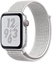 Apple Watch Nike Series 4 (GPS + Cellular, 44MM) - Silver Aluminum Case with Summit White Sport Loop Band (Renewed)