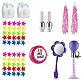 Bikes On Hikes 65 Piece Children's Bike Set Pink Purple - Includes Horn, Mirror, Bell, 2 Streamers, 2 Flash Valve Sealing Caps, 2 White Lights, 50 Stars Spoke Beads - All in One Set…)