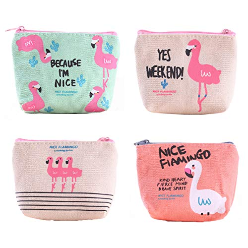 Beiaosu 4X muntbeurzen leuke muntbuidel canvas portemonnee mini portemonnee cartoon flamingo dames meisjes portemonnee voor sleutels, headset, lippenstift, kaart (12x9x3.5cm)