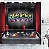 ABAKUHAUS Videojuegos Cortina de Baño, Arcade Retro Diversión, Material Resistente al Agua Durable Estampa Digital, 175 x 200 cm, Multicolor