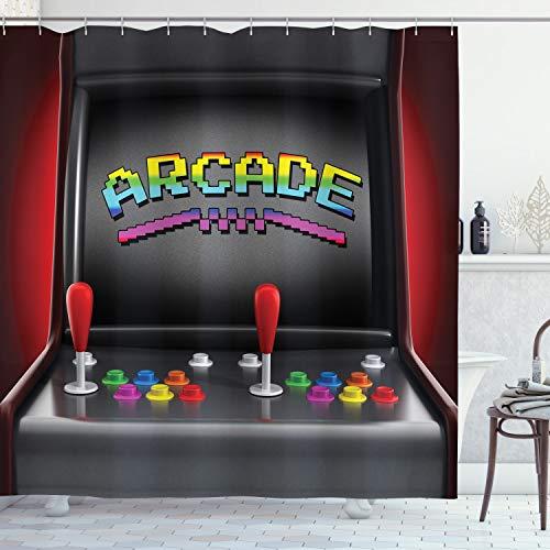 ABAKUHAUS Computerspelletjes Douchegordijn, Arcade Retro Fun, stoffen badkamerdecoratieset met haakjes, 175 x 220 cm, Veelkleurig