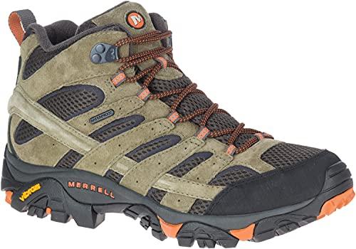 Merrell Men's Moab 2 Mid Waterproof Olive/Orange Hiking Boot 11 M US