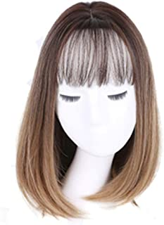Medium-Length Full Head Straight Bobo Wig With 3D Air Bangs Nature Hairline None Lace Glueless Wig Ombre 2 Tone Brown