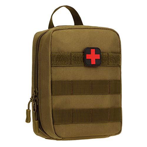 Huntvp Molle Erste Hilfe Tasche mit Rotkreuz Patch Leer Taktische Notfalltasche kleine MedizintascheWasserdicht EDC Pouch Militärisch First-Aid Medikamentetasche - Braun