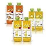 Hilli Fruits BIO Fruchtpüree Probier-Set 6-tlg. | 2x Banane, 2x Mango, 2x Ananas, Gluten- und laktosefrei | Ideal für Smoothies, Säfte, Marmelade [ohne Zuckerzusatz]