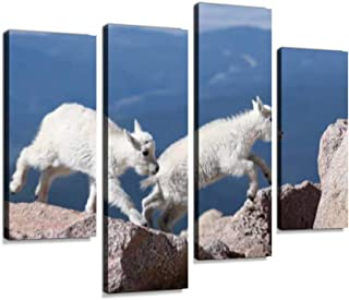 Mountain Goat Kids Leaping for Joy! Canvas Wall Art Hanging Paintings Modern Artwork Abstract Picture Prints Home Decoration Gift Unique Designed Framed 4 Panel