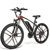 2021 Nueva Bicicleta EléCtrica Para Adultos,Bicicleta EléCtrica De MontañA,Motor 350W,BateríA De Litio 48V/8Ah,Velocidad MáXima 30Km/H,Bicicleta EléCtrica Shimano 21 Velocidades 26 Pulgadas.,Black