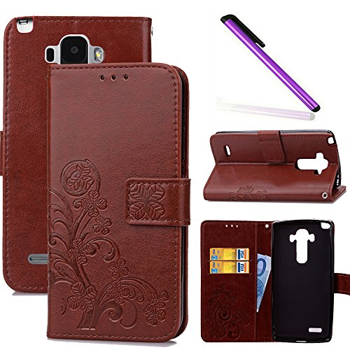 COTDINFOR LG G4 Stylus Hülle für Mädchen Elegant Retro Premium PU Lederhülle Handy Tasche im Bookstyle mit Magnet Standfunktion Schutz Etui für LG Stylo / LS770 Clover Brown SD