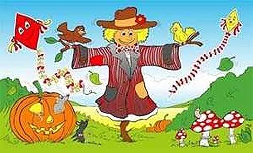 Fanshop Lünen Fahne - Flagge - Vogelscheuche - Herbst - Drachen - Hut - Kürbis - Vogel - Pilze - 90x150 cm - Hissfahne mit Ösen -