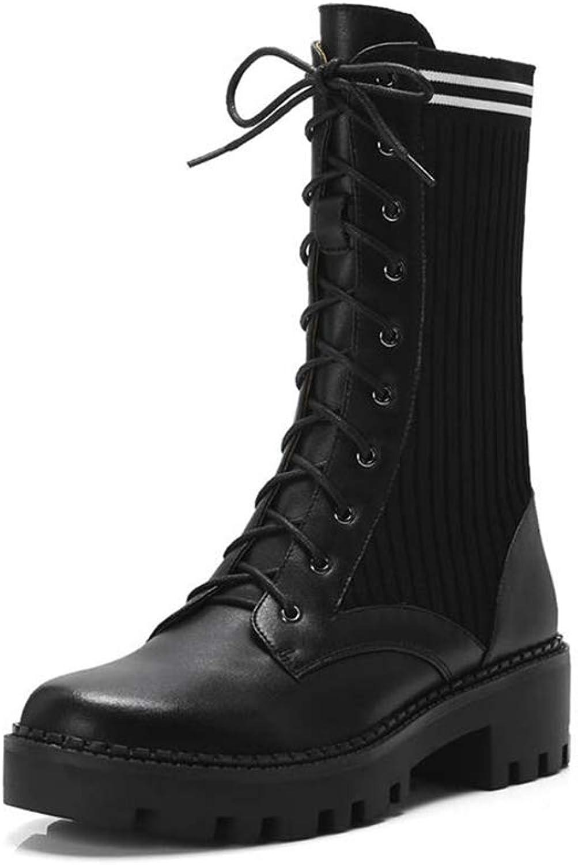 T -JULY Genuine läder stövlar for kvinnor Round Toe Toe Toe Autumn Winter stövlar Lace upp Platform skor Mid Calf stövlar  Vi levererar det bästa