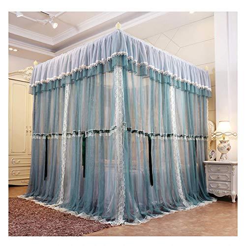 JHGF Rede mosquiteira com Dossel para as Meninas (Azul marinho) Cortinas com Dossel da Cama com 4 colunas de Canto - Phnom Penh Lace Dustproof Top Account Cloth (Tamanho: para Cama de 1,8 m / 6 pés)