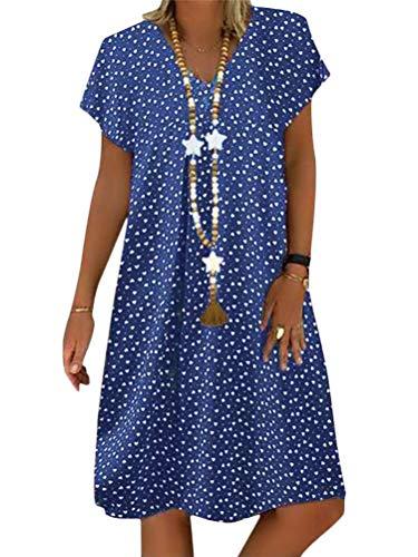 Minetom Sommerkleid Leinen Kleider Damen Strand Elegant Casual V-Ausschnitt Kurzarm Strandkleider Polka Dot A-Linie Kleid Boho Lose Knielang Kleid C Blau 50