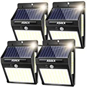ASAKA 100 LED 600LM Solar Lights Outdoor, Super Bright Waterproof Outdoor Motion Sensor Lights Wireless Security Garden Lights with Wide Angle for Step Patio Garden (Pack of 4)