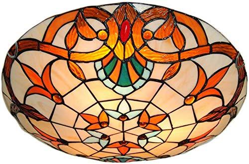 Tiffany landelijke stijl plafond licht keuken armatuur, Flush Mount plafond lamp mediterrane glas schaduw lamp Semi Flush Mount licht gebruik 3 E26 lampen voor eetkamer, woonkamer