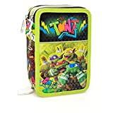 Astuccio completo 3 zip deluxe Ninja Turtles - Colori Giotto