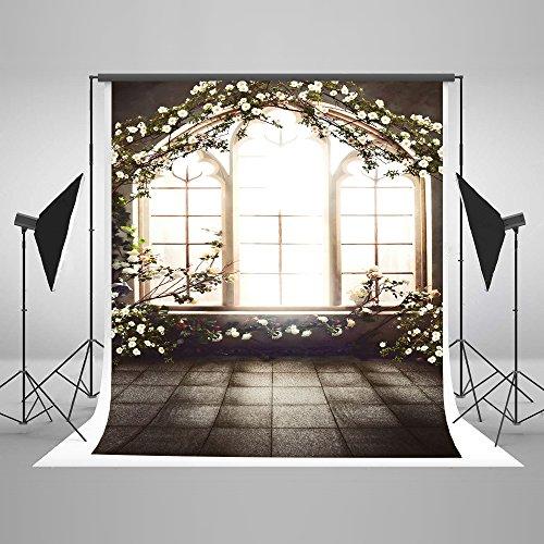 KateHome PHOTOSTUDIOS 1,5x2,2m Fotografía de Interior Telón de Fondo Microfibra Flores Ventana Telones de Fondo de la Boda Niños Fotografía de bebé Fondos para Estudios