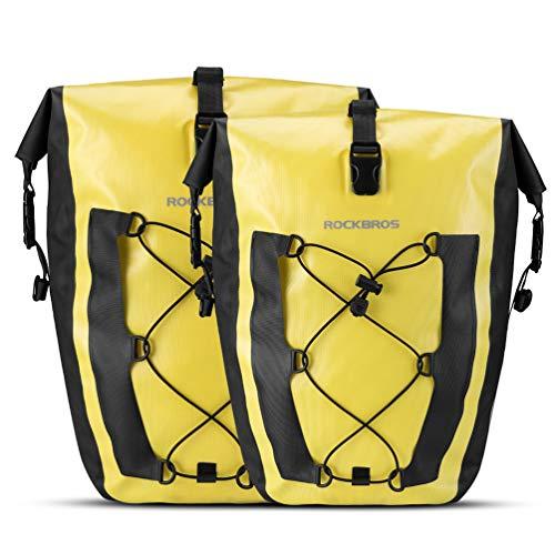ROCKBROS Bike Pannier Waterproof 27L Large Capacity Bike Bag Rear Rack Bicycle Pannier Bag Waterproof for Grocery Touring Cycling (Yellow2)