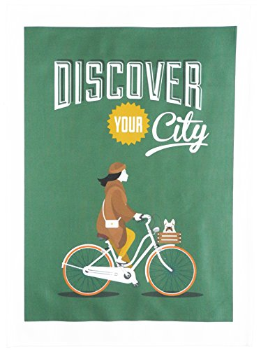 Half a Donkey Discover your city on a bike Large Cotton Tea Towel