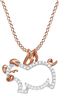 1/10 Ct Round Natural Diamond Flying Pig with Wings Pendant Necklace in 10K Solid Gold