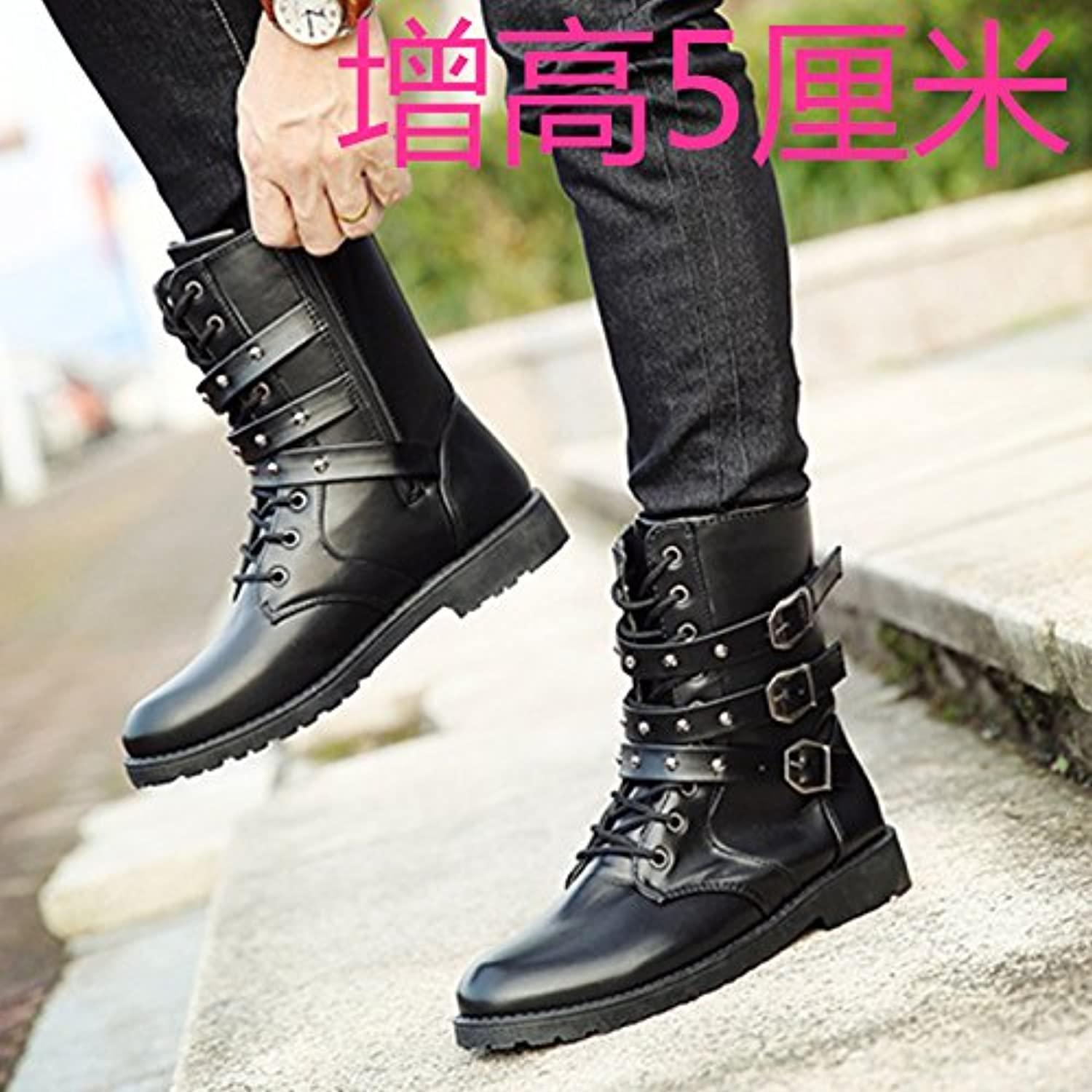 GUNAINDMX Spring and Autumn men's shoes casual Martin boots tall tube