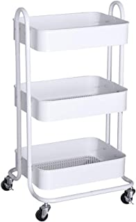 Kitchen Storage Trolley, 3-Tier Metal Rolling Utility Cart, Multifunction Mesh Basket Standing Shelf with Handles and Whee...
