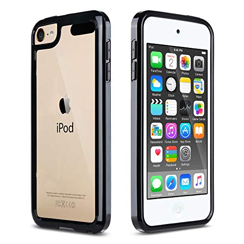 ULAK iPod Touch 7 Case,iPod Touch 6 & 5 Case, Clear Slim Hybrid Bumper TPU/Scratch Resistant Hard PC Back / Corner Shock Absorption Case for Apple iPod Touch 5th 6th 7th Generation, Black