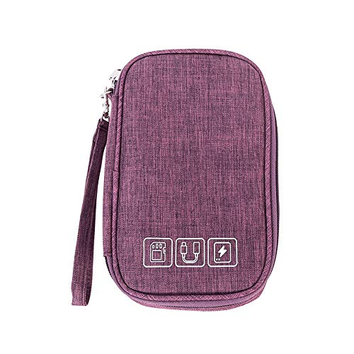 Bestenrose Accessories Organizer Bag Travel Cable Organiser Bag Universal Carry Travel Gadget Bag for USB Cable Drive SD Card Charger Hard Disk (Purple)