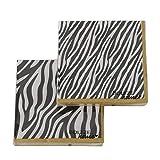 CasaJame Set di 40 (2 Confezioni da 20 Pezzi cad) Tovaglioli in Carta Monouso 3 Strati Veli 33x33cm Colore Bianco Nero Decorazioni Zebra con Bordi Oro