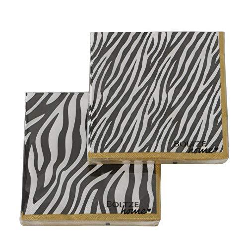 CasaJame Servietten (2er Set / 40Stück) 3-lagig 33x33cm Tierprint Zebra schwarz weiß Gold Sortiert