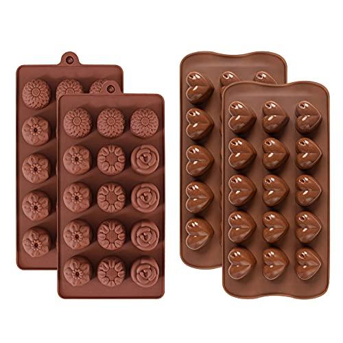RoxNvm stampi per cioccolatini in silicone, Stampi per caramelle al cioccolato in silicone, 4 stampi per cioccolato a 15 cavità, stampi per cioccolato a forma di cuore e fiori, antiaderenti, Marrone