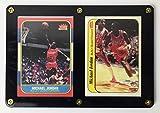 Michael Jordan Chicago Bulls 1986-87 Fleer Rookie RC Pair REPRINT #57 & #8 in 2 Card Black Border Screwdown Card Holder