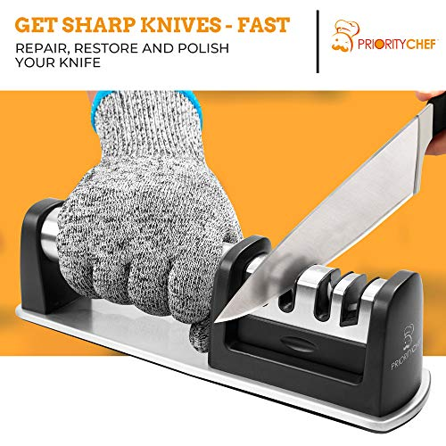 PriorityChef Kitchen Knife Sharpener, Professional Diamond Rods To Repair, Sharpen and Polish Your Knives, Cut-Resistant Glove Included