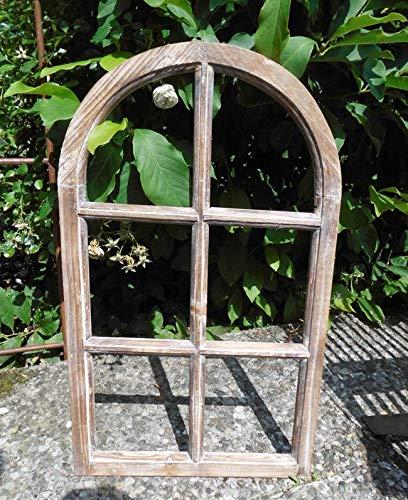Deko-Impression Fenster Sprossenfenster Bilderrahmen halbrund Wanddeko Holz braun 70cm