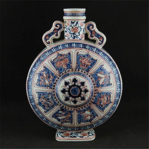 ZYG222 Onderglazuur rode acht lijnen oren platte fles imitatie Ming Dynastie oven oude porselein collectie van antieke ornamenten