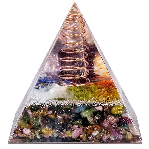 mookaitedecor Heilstein Kristall Pyramide mit Turmalin, Positive Energiepyramide für EMF Schutz Meditation/Yoga/Heilchakra/Wohnkultur 50mm